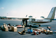 Picture of a plane being checked and maintained